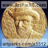 Gold on Bronze Plaques, Medals, Medalions, Coins, Tokens, Commemorative Customised Commission or Bespoke sculpture by sculptor David Cornell titled: 'Vangogh'