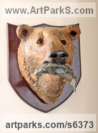 Papier Mache Mounted Heads, Masks, Wall Mounted Busts of Animals sculpture by David Farrer titled: 'Grizzly Bear and Salmon (Trophy Wall Mounted Mask statue)'