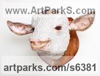Papier Mache Cattle, Kine, Cows, Bulls, Buffalos, Bullocks, Heifers, Calves, Oxen, Bison, Aurocks, Yacks sculpture by David Farrer titled: 'Hereford Bull (Wall Mounted Head Trophy sculptures)'