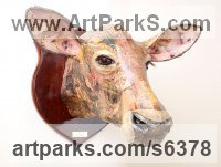 Papier Mache Cattle, Kine, Cows, Bulls, Buffalos, Bullocks, Heifers, Calves, Oxen, Bison, Aurocks, Yacks sculpture by David Farrer titled: 'Jersey Cow (Papier Mache Cattle Head Wall sculptures)'