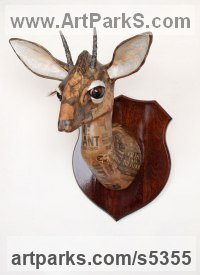 Deer sculpture by David Farrer titled: 'Kirks Dik Dik (Papier Mache Wall Antelope Head Mask)'