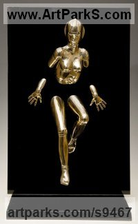 Bronze and acrylic Wall Mounted or Wall Hanging sculpture by David G Smith titled: 'EMERGENCE I Little Bronze Robotic nude sculptures'