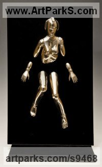 Bronze and acrylic Fantasy sculpture or Statue sculpture by David G Smith titled: 'EMERGENCE II (Little Bronze nude Robot Wall statuette)'
