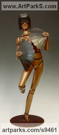 Bronze Nudes, Female sculpture by David G Smith titled: 'FANTESIA II (Contemporary nude Fan Dancer statues)'