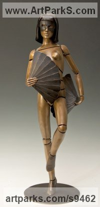 Bronze Nudes, Female sculpture by David G Smith titled: 'FANTESIA III (Naked Girl Fan Dancer Bronze sculpture)'