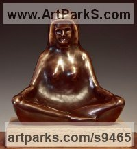 Bronze Stylized People sculpture by David G Smith titled: 'HARMONY (Small Meditating female Squatting sculpture)'