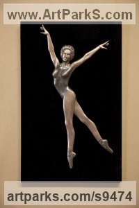 Bronze and acrylic Human Figurative sculpture by David G Smith titled: 'JOY FOUR (Small Low Relief Ballerina Wall statuette)'