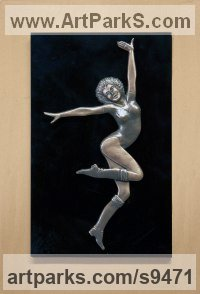 Bronze and acrylic Human Figurative sculpture by David G Smith titled: 'JOY ONE (Small Ballerina Low Relief Plaque statue)'