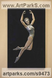 Bronze and acrylic Human Figurative sculpture by David G Smith titled: 'JOY THREE (HAppily Leaping Ballerina Wall Plaque statue)'