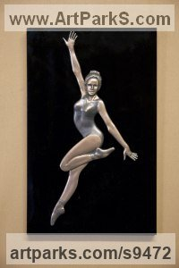 Bronze and acrylic Human Figurative sculpture by David G Smith titled: 'JOY TWO (Happy Ballerina Skipping and Dancing Plaque)'