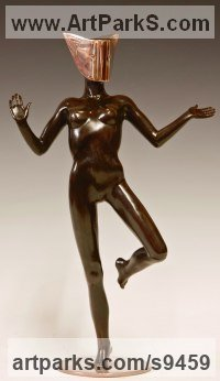 Bronze Nudes, Female sculpture by David G Smith titled: 'MASQUERADE 3 (nude Masked Sensual Girl Dancer statue)'