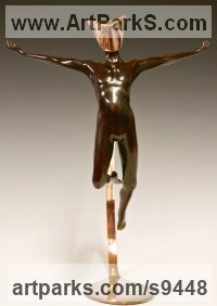 Cast bronze Human Figurative sculpture by David G Smith titled: 'MASQUERADE 8 (Small nude Exotic Masked Man statues)'