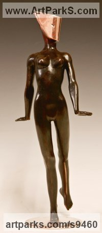 Bronze Interior, Indoors, Inside sculpture by David G Smith titled: 'Masquerade 9 (Striding nude Masked Dancer sculpture)'