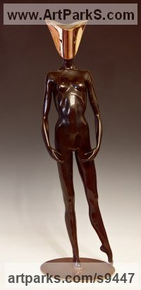 Bronze Little Small Nude or Naked Girls Women Ladies Females Sculpture Statue statuettes Figurines sculpture by David G Smith titled: 'MASQUERADE II (Small Masked nude statues sculpture)'