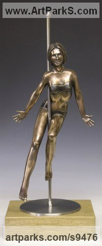 Bronze, Stainless Steel, Oak. Dance Sculptures and Ballet sculpture by David G Smith titled: 'PENNY POLESTAR (Pole DancerPoised Sexy Assured statue)'