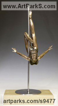 Bronze, Stainless Steel, Oak. Human Figurative sculpture by David G Smith titled: 'POLLY POLESTAR (Small Bronze Girl Dancer sculptures)'