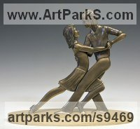 Bronze Couples or Group sculpture by David G Smith titled: 'TANGO (Little Young Latin Dancers sculpture statues)'