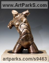 Bronze Stylised Nude statue sculpture statuette ornament sculpture by David G Smith titled: 'TORSO JESSY (Contemporary female Torso sculptures)'