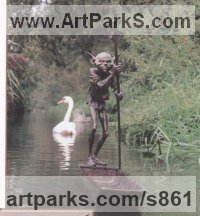 Bronze Water Features, Fountains and Cascades sculpture by sculptor David Goode titled: 'The Ferryman'