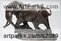 Bronze Elephants (Pachederms) Sculptures, African, Indian, Sumatran sculpture by sculptor David Mayer titled: 'African Bull Elephant (Bronze sculptures/statuettes)'