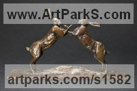 Bronze Hares and Rabbits sculpture by David Mayer titled: 'Hares Boxing (Mad March bronze statues/sculptures/statuettes)'