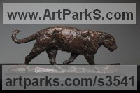 Bronze American Animal Bird Reptile and Fish Sculptures, Statues, statuettes, figurines sculpture by David Mayer titled: 'Jaguar (South American Big Cat sculpture/statuettes)'