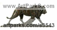 Bronze Cats Wild and Big Cats sculpture by David Mayer titled: 'Lion (Little Striding Bronze African sculpture statue)'