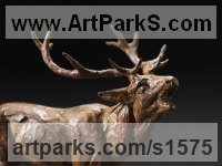 Bronze Deer sculpture by David Mayer titled: 'Red Deer Stag (Bronze Bellowing statuettes sculptures)'