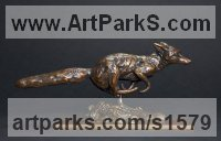 European Animals Birds Reptiles Sculpture Statues statuettes by sculptor artist David Mayer titled: 'Running Fox (Small Bronze statuette sculpture statue)' in Bronze