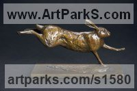 Bronze Hares and Rabbits sculpture by sculptor David Mayer titled: 'Running Hare I - SOLD OUT'