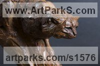 Bronze Cats Wild and Big Cats sculpture by David Mayer titled: 'Scottish Wildcat (Little bronze Prowling statuette)'
