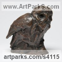 Bronze Wild Bird sculpture by David Mayer titled: 'Tawny Owl (Little Sitting Perched bronze statuettes/sculptures/statue)'