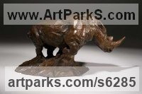 Bronze African Animal and Wildlife sculpture by David Mayer titled: 'White Rhino (Small bronze African Rhinoceros statuette)'
