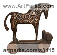 Carved and Engraved Lettering Writing Inscriptions Poems Quotations Carving Panels Sculpture by sculptor artist David Mayne titled: 'Chariot (Little bronze Contemporary Semi abstract Horse statuettes)' in Bronze