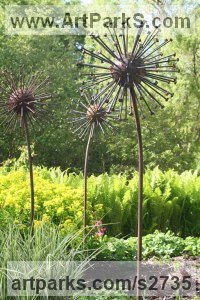 Steel Abstract Contemporary or Modern Outdoor Outside Exterior Garden / Yard Sculptures Statues statuary sculpture by David Mayne titled: 'Seed Head (Giant Steel garden Plant Metal Seed Heads Yard statues)'