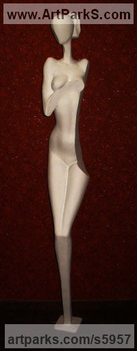 Fiberglass and polyester Figurative Abstract Modern or Contemporary sculpture statuary statuettes figurines sculpture by sculptor David Sirbiladze titled: 'Bather (life size Stylised abstract nude Girl female sculpture)'