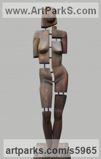 Wood. metal. stone Abstract Modern Contemporary Avant Garde Sculptures Statues statuettes figurines statuary both Indoor Or outside sculpture by David Sirbiladze titled: 'Woman in Wood (figurative abstract nude female statue sculptures)'