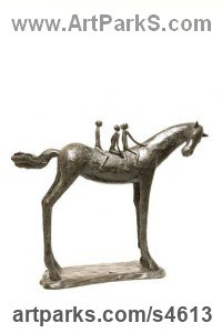 Bronze Resin Stylized Animals sculpture by Dawn Benson titled: 'Angels on Horseback (Stylised Children Riding statue)'