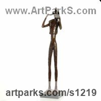 Indoor figurative sculpture by sculptor artist Dawn Benson titled: 'Daddys Boy (Father and Son bronze resin sculptures statue statuette)' in Bronze resin