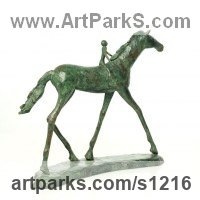 Horse and Rider / Jockey Sculpture / Equestrian Sculpture by sculptor artist Dawn Benson titled: 'Free Spirit (bronze Stylised Horse and Rider statuettes/statues)' in Bronze resin