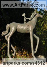Bronze Horse Sculpture / Equines Race Horses Pack HorseCart Horses Plough Horsess sculpture by Dawn Benson titled: 'Hopes and Dreams (Horse and Child Bronze sculpture)'