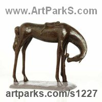 Bronze and Bronze Resin Stylized Animals sculpture by Dawn Benson titled: 'Me Too (Bronze Child and Horse statues or sculpture)'