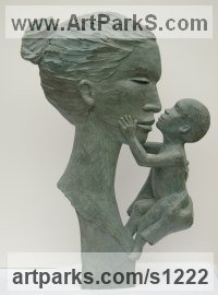 Bronze Resin Couples or Group sculpture by sculptor Dawn Benson titled: 'Mother Love (Mother and Child Bas/Low Relief statue)'