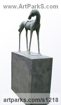 Animals and Humans Sculpture, Statues and Statuettes by sculptor artist Dawn Benson titled: 'Twos Company (Horse and affectionate Child sculpture)' in Bronze resin