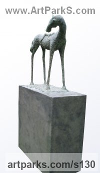Bronze Domestic Animal sculpture by Dawn Benson titled: 'Twos Company (bronze Horse and Child sculpture)'