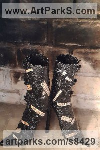 Mild steel Pop Art sculpture by Dawn Boys-Stones titled: 'Sex and Shoes (Steel High Healed Fashion Boots statue)'