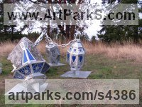 Limestone, Aluminum & Lucite Abstract Modern Contemporary sculpture statuettes figurines statuary sculpture by sculptor Deedee Morrison titled: 'Liquid Sky'