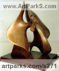 Bronze Abstract Modern Contemporary sculpture statuettes figurines statuary sculpture by sculptor Deirdre Hubbard titled: 'Wingless Pair'