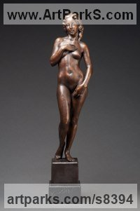 Bronze Classical Style Sculptures and Statues sculpture by Deon Duncan titled: 'After Botticelli (Standing nude Girl bronze statuette)'