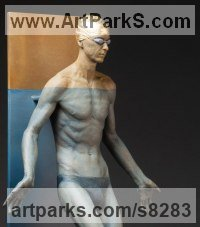 Bronze Sculptures of Sport in General by Deon Duncan titled: 'Blue Lotus (Realistic Half Size Male Swimmer statue)'